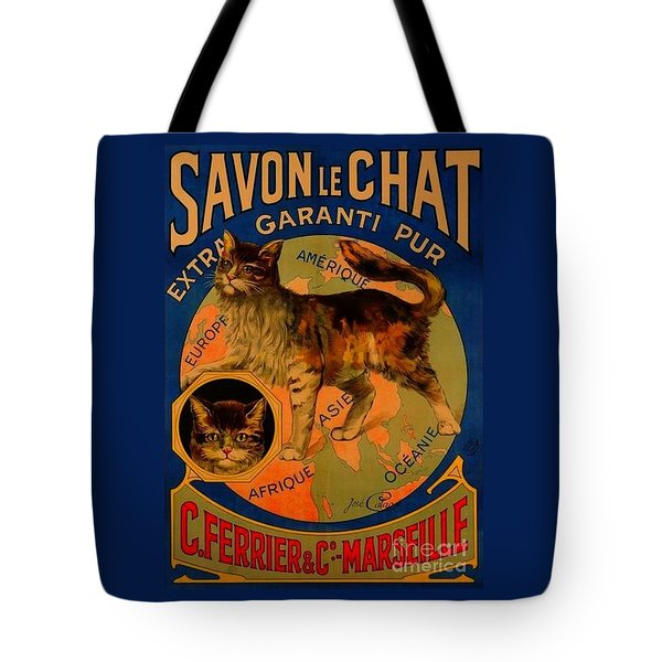 Savon Le Chat Antique French Poster Tote Bag