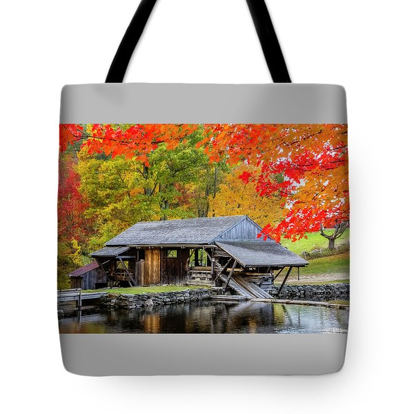 Sawmill Reflection, Autumn In New Hampshire Tote Bag