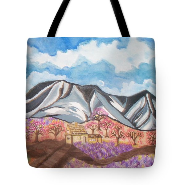 Tote Bag featuring the painting Sawtooth Mountain Farm by Connie Valasco