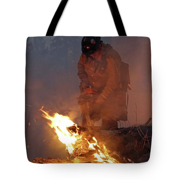 Sawyer, North Pole Fire Tote Bag