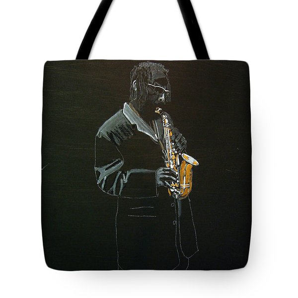 Tote Bag featuring the painting Sax Player by Richard Le Page