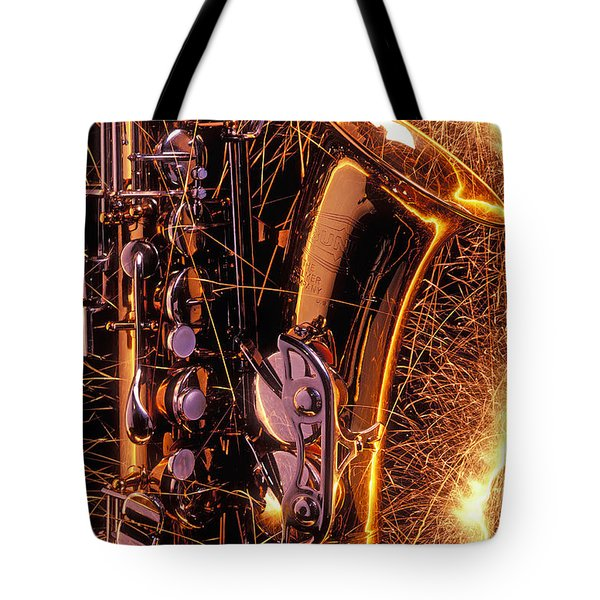 Sax With Sparks Tote Bag