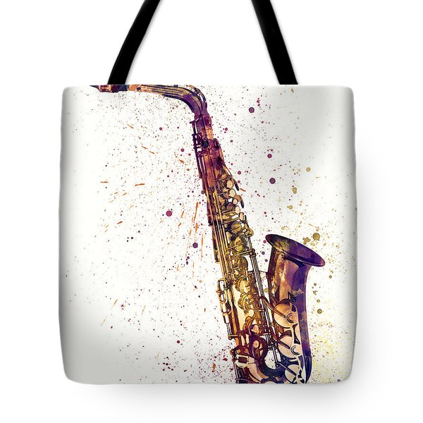Saxophone Abstract Watercolor Tote Bag