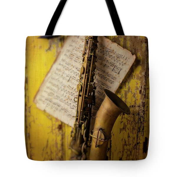 Saxophone Hanging On Old Wall Tote Bag