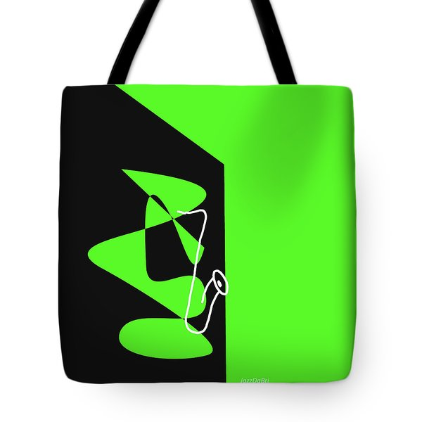Saxophone In Green Tote Bag