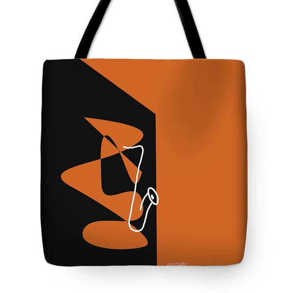 Saxophone In Orange Tote Bag