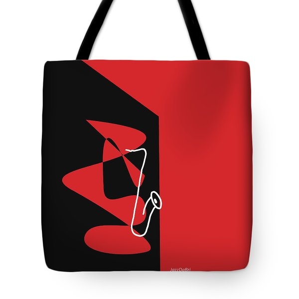 Saxophone In Red Tote Bag