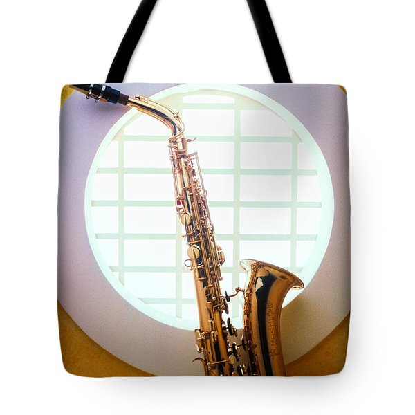 Saxophone In Round Window Tote Bag by Garry Gay