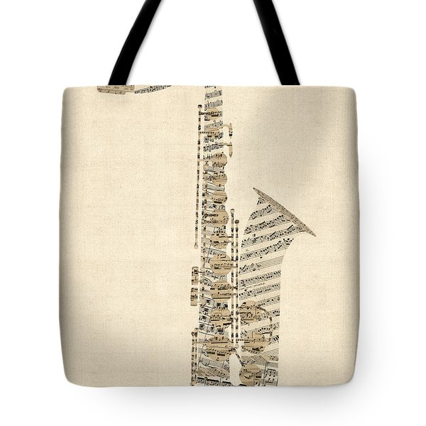 Saxophone Old Sheet Music Tote Bag