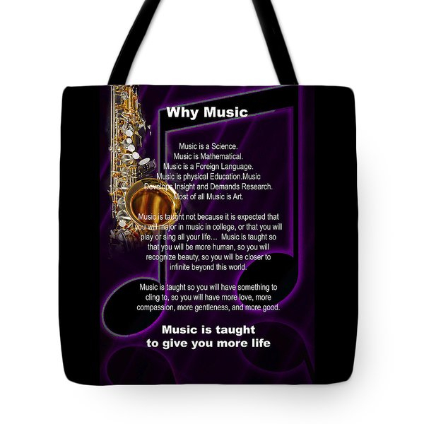 Saxophone Photograph Why Music For T-shirts Posters 4819.02 Tote Bag