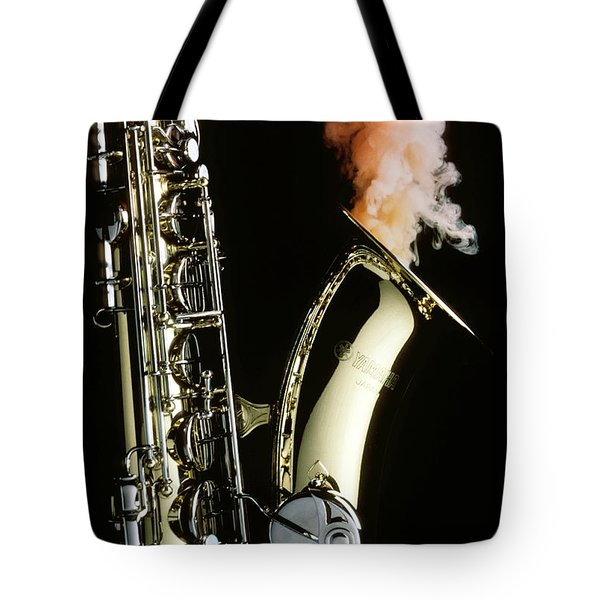 Saxophone With Smoke Tote Bag