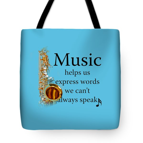 Saxophones Express Words Tote Bag