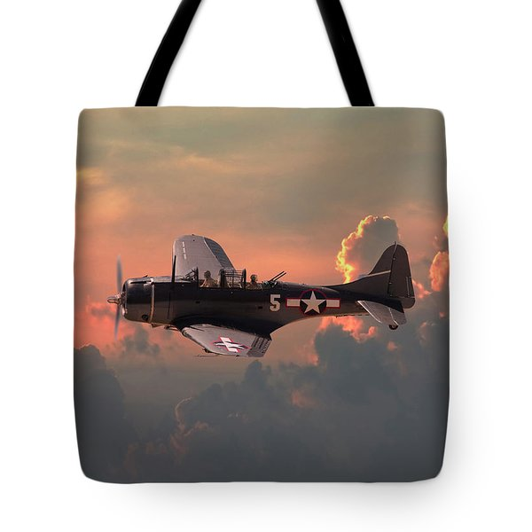 Tote Bag featuring the digital art  Sbd - Dauntless by Pat Speirs