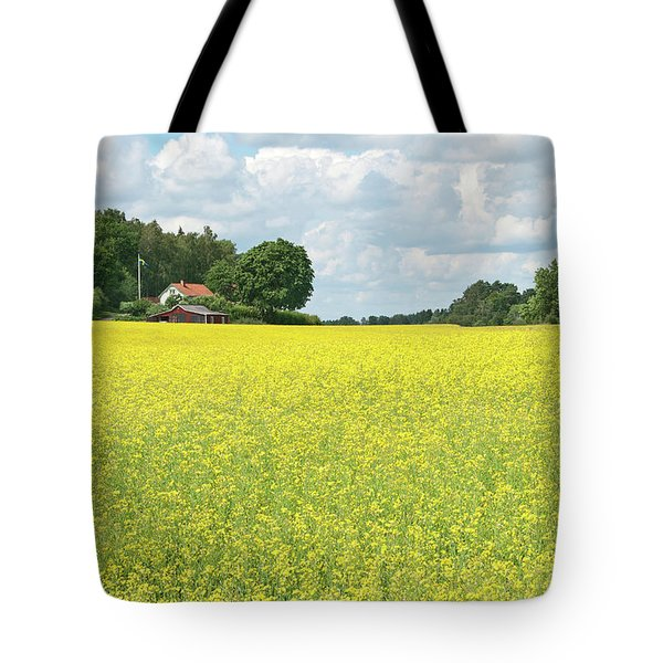 Scandinavian Summer Landscape With Yellow Meadow Tote Bag