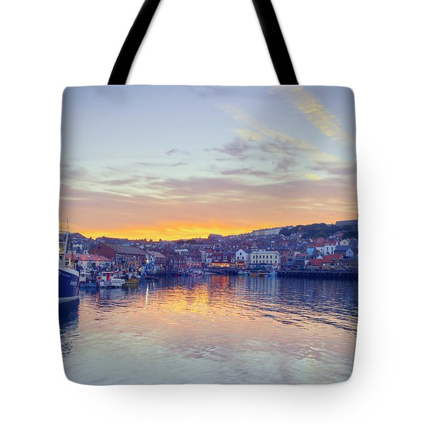 Scarborough Harbour At Sunset Tote Bag