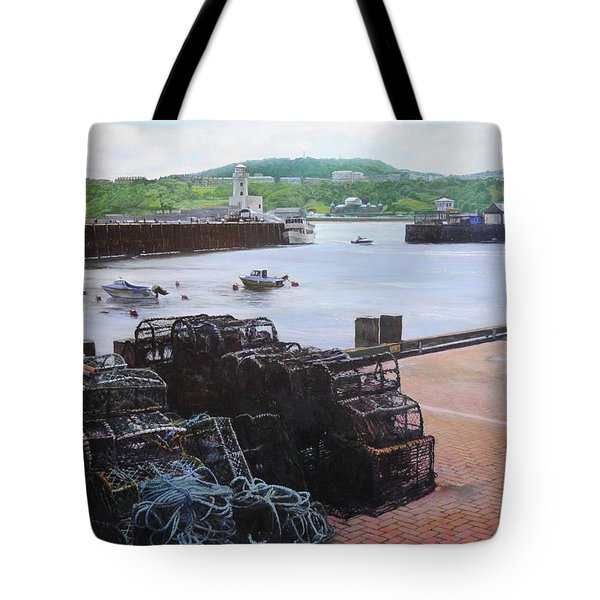 Scarborough Harbour. Tote Bag by Harry Robertson