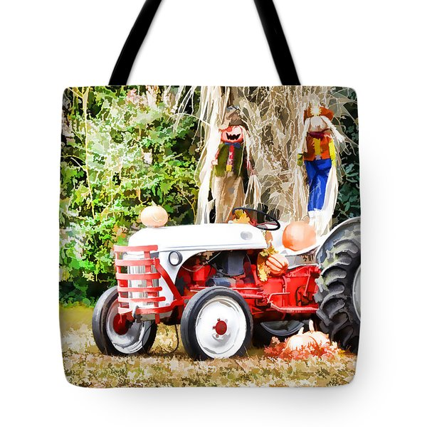 Scarecrow And Pumpkins 2 Tote Bag by Lanjee Chee