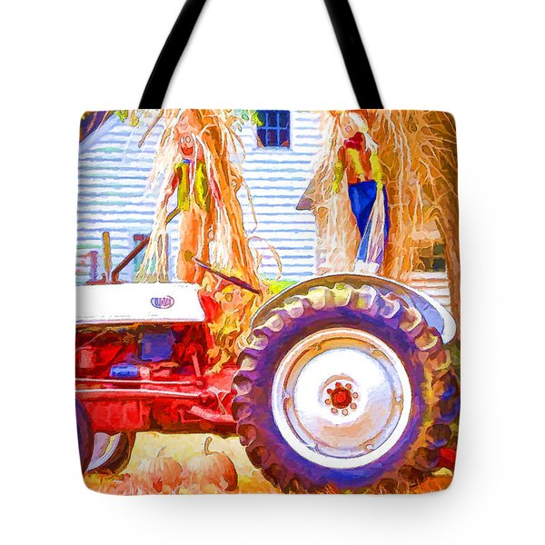 Scarecrow And Pumpkins Tote Bag by Lanjee Chee