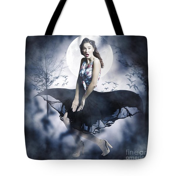 Tote Bag featuring the photograph Scared Young Woman In Eerie Halloween Forest  by Jorgo Photography - Wall Art Gallery