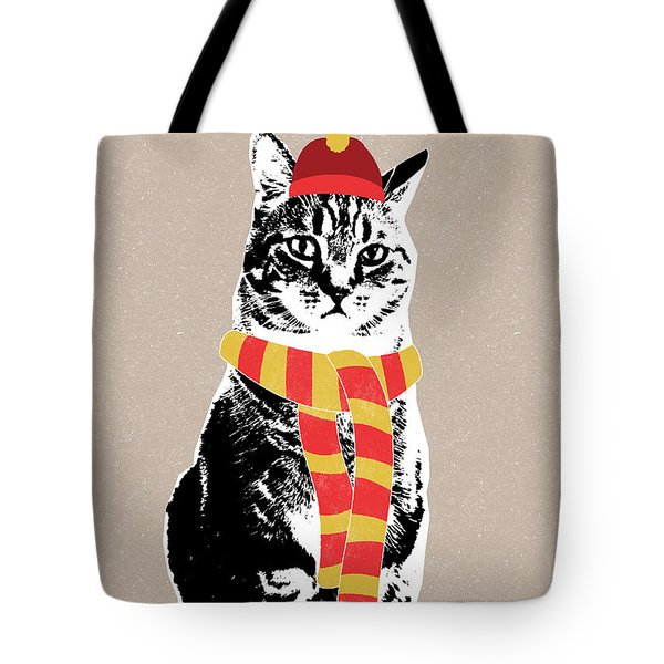 Scarf Weather Cat- Art By Linda Woods Tote Bag by Linda Woods