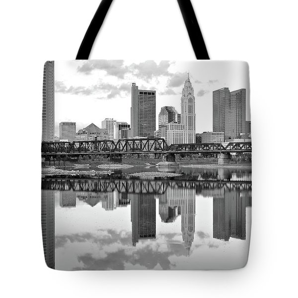 Tote Bag featuring the photograph Scarlet And Columbus Gray by Frozen in Time Fine Art Photography