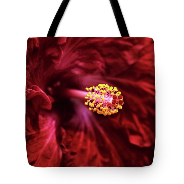 Scarlet Hibiscus Tote Bag by Jessica Jenney