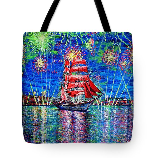 Tote Bag featuring the painting Scarlet Sail by Viktor Lazarev