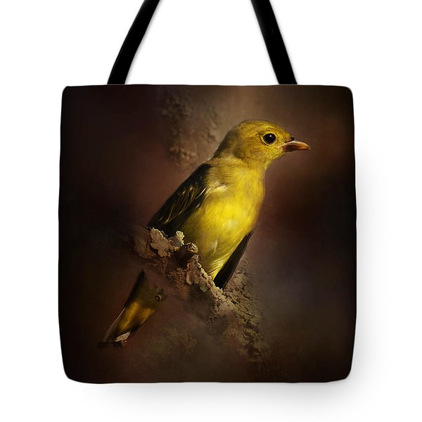 Scarlet Tanager Tote Bag by Kathy Russell