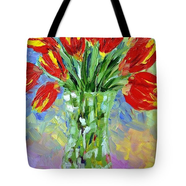 Scarlet Tulips Tote Bag by Lynda Cookson