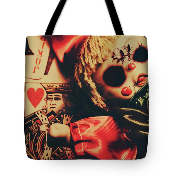 Scary Doll Dressed As Joker On Playing Card Tote Bag
