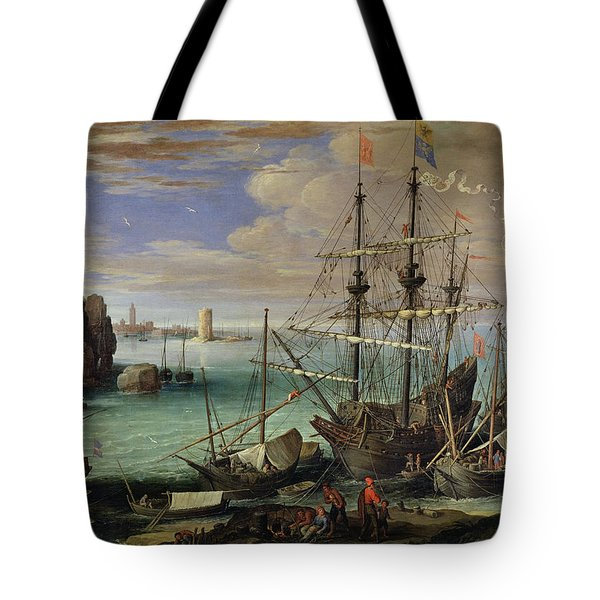 Scene Of A Sea Port Tote Bag by Paul Bril