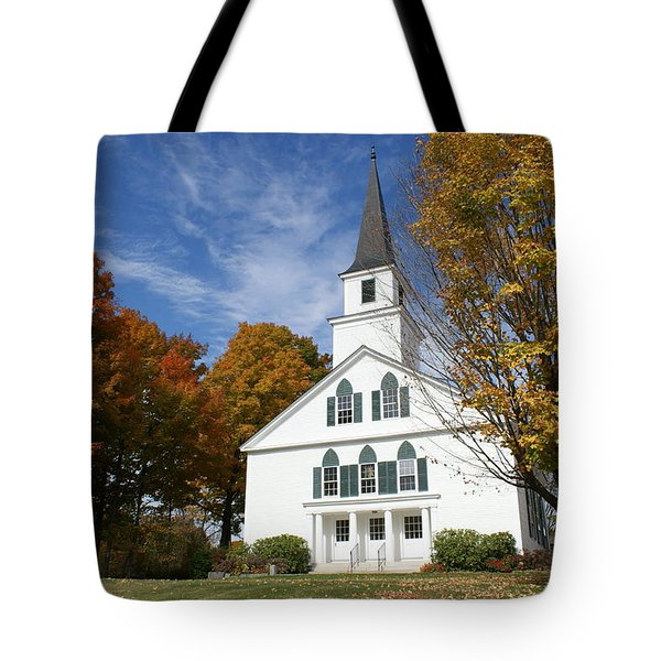 Scenic Church In Autumn Tote Bag by Lois Lepisto