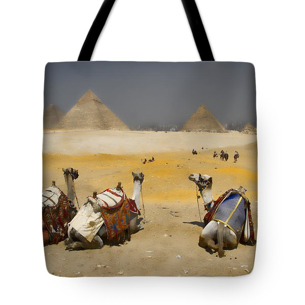 Scenic View Of The Giza Pyramids With Sitting Camels Tote Bag by David Smith