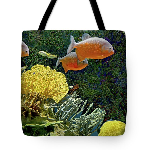 Tote Bag featuring the mixed media Scenic Waters by Lynda Lehmann