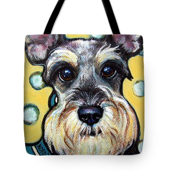 Schnauzer With Polkadots Tote Bag by Rebecca Korpita