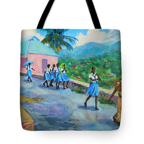School's Out In Jamaica Tote Bag by Margaret  Plumb