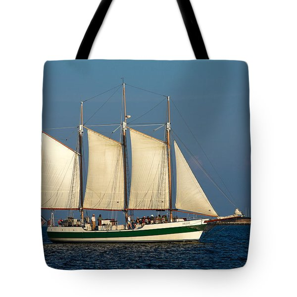 Schooner By Fort Sumter Tote Bag by Sally Weigand