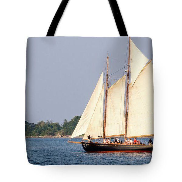 Tote Bag featuring the photograph Schooner Cruise, Casco Bay, South Portland, Maine  -86696 by John Bald
