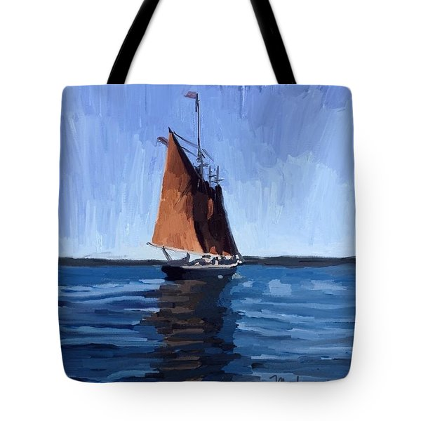 Schooner Roseway In Gloucester Harbor Tote Bag by Melissa Abbott