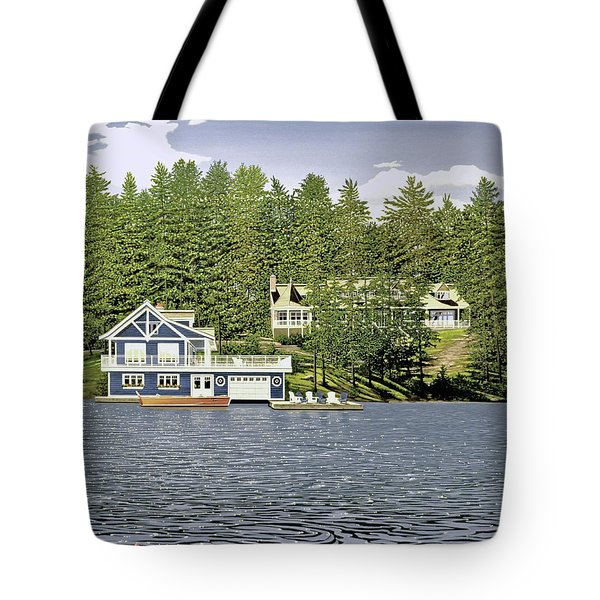 Tote Bag featuring the painting Schultz Summer Home Muskoka by Kenneth M Kirsch