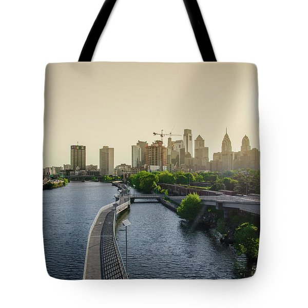 Tote Bag featuring the photograph Schuylkill River Walk At Sunrise by Bill Cannon