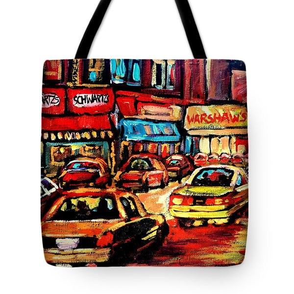 Schwartz's Deli At Night Tote Bag by Carole Spandau