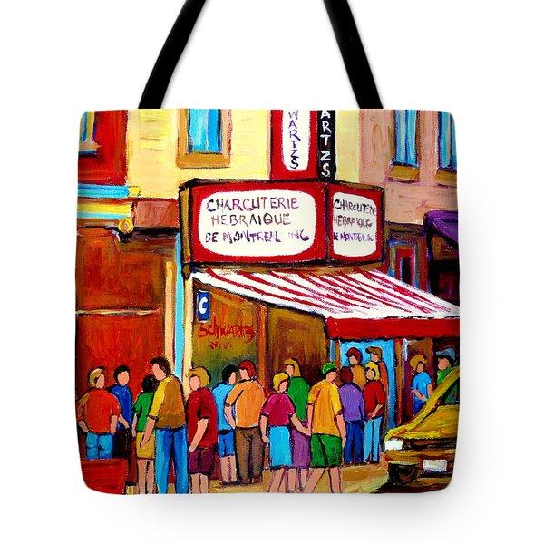 Schwartzs Hebrew Deli Montreal Streetscene Tote Bag by Carole Spandau