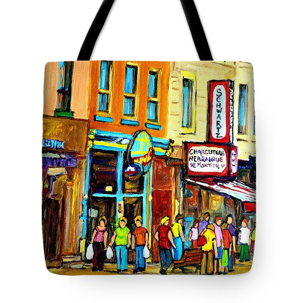 Schwartz's Hebrew Deli On St. Laurent In Montreal Tote Bag by Carole Spandau