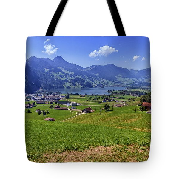Schwyz And Zurich Canton View, Switzerland Tote Bag by Elenarts - Elena Duvernay photo