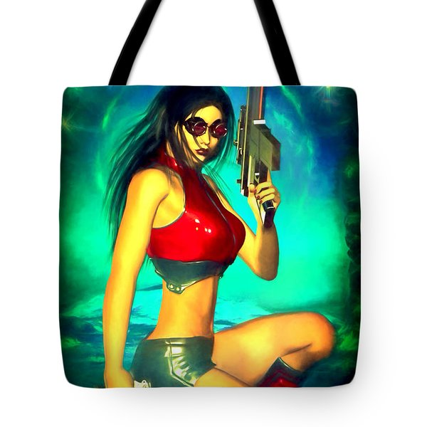 Sci-fi Brunette With Two Guns Tote Bag