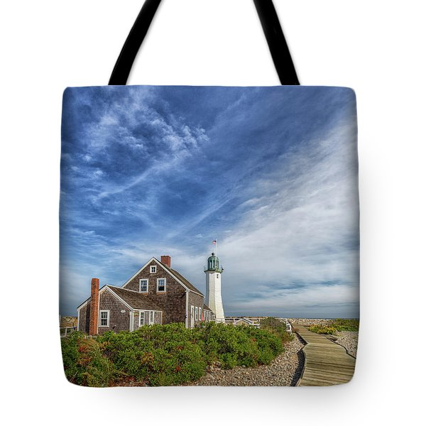 Scituate Lighthouse Boardwalk Tote Bag