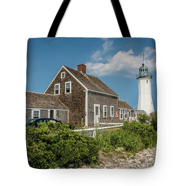 Scituate Lighthouse In Scituate, Ma Tote Bag by Peter Ciro