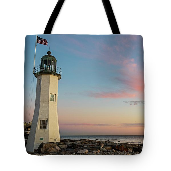 Scituate Lighthouse Scituate Massachusetts South Shore At Sunrise Tote Bag