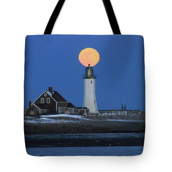 Scituate Lighthouse Snow Moon Tote Bag by John Burk